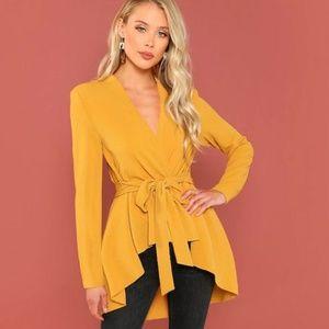 NEW Mustard Asymmetric Crossed Jacket top